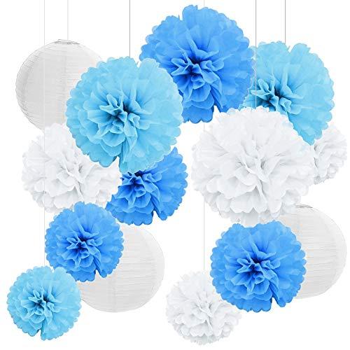 Seidenpapier Pompoms Deko Hochzeit,18er Set Seidenpapier Pompoms Blumen,Papierblumen Pompons, Hochzeit Deko Set,Laternen Wabenbälle mit 2 Papierlaterne Blau