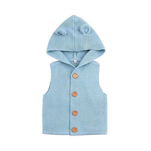 domybest ovillo de chaleco Moda Niños Niñas Niños suéteres para niños orejas estilo con capucha...