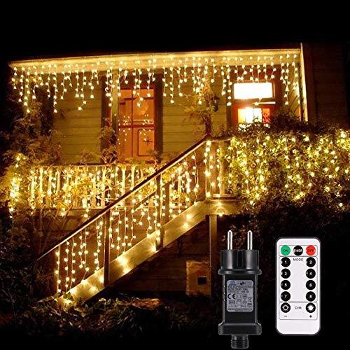 Lichterkette außen B-right 480 Led Lichterkette strombetrieben, Lichterkette warmweiß mit Fernbedienung, Lichterkette innen Lichtervorhang Weihnachtsbeleuchtung für Weihnachten Balkon Hochzeit Party