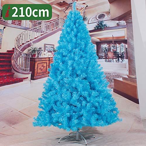 YAYUMDTREE Árbol de Navidad Artificial, con el Metal Ramas Soporte del árbol de Navidad 210cm, Ramas de PVC clásico Premium cifrados, para Inicio del Partido Lndoor Decoración de Navidad,Azul,210CM