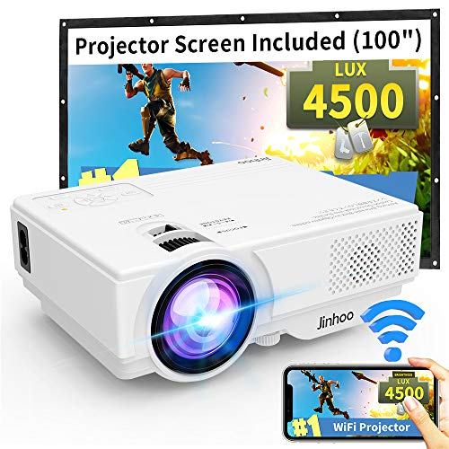 """WiFi Mini Projector, 2020 Latest Update 4500 Lux[100"""" Projector Screen Included] Outdoor Movie Projector, Supported 1080P Synchronize Smartphone Screen by WiFi/USB Cable for Home Entertainment"""