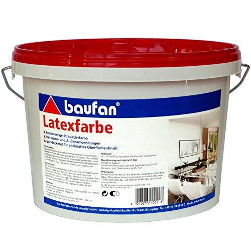 10 Liter Eimer Latex-Farbe für innen + außen, hochwertige Strapazierfarbe