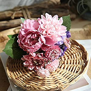Artificial Flowers 4 Colors Silk Peony Dahlia Hybrid Artificial Flower Bridal Bouquet DIY Wedding Decoration Home Party Fake Flowers Wedding Bouquets