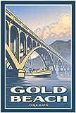 Gold Beach Oregon Bridge Boat Giclee Art Print Poster from Travel Artwork by Artist Paul Leighton 24' x 36'