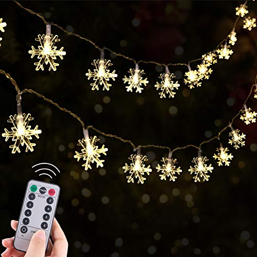 Christmas Snowflake String Lights Remote, 13.8 Feet 40 Led Fairy Lights, Battery Operated Waterproof with 8 Lighting Modes for Xmas Home Garden Bedroom and Indoor&Outdoor Decoration, Warm White