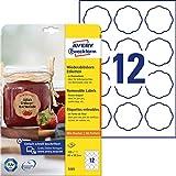 AVERY Zweckform Marmeladenetiketten Art. 5085 (120 Aufkleber ablösbar, 60x59,5mm auf A4, Blumenform, ideal für Einmachgläser, Gebäcktüten, Geschenke und Selbstgemachtes aus der Küche)10 Blatt weiß