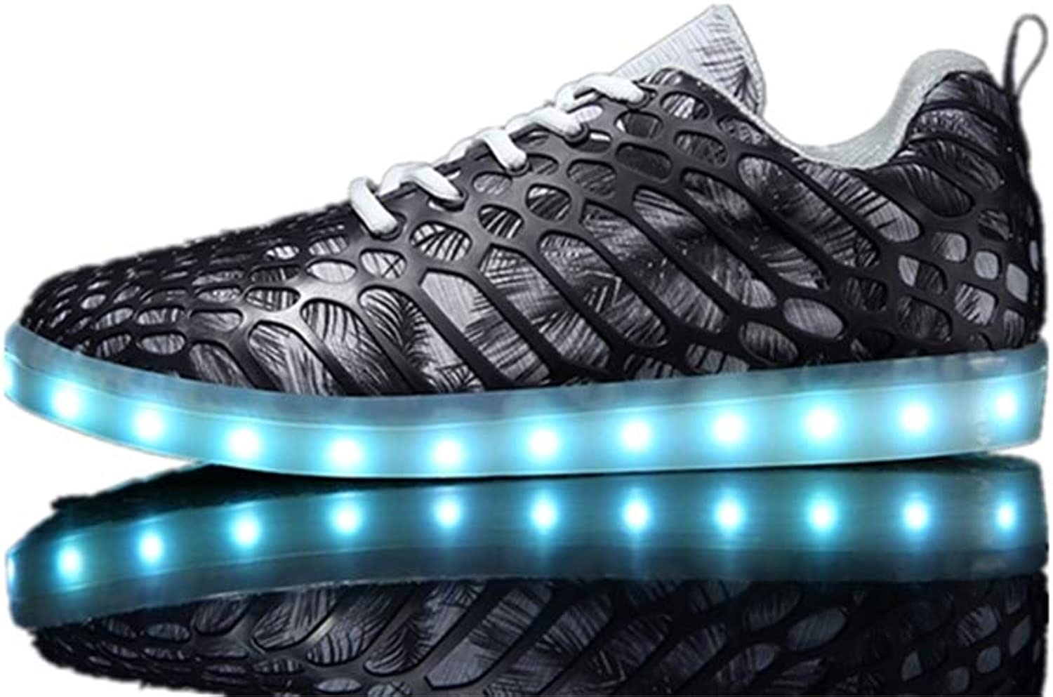 LUOBM Unisex LED Casual shoes USB Charging Fluorescent Bright Hollow Couple shoes