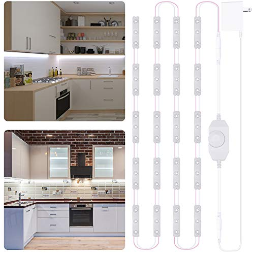 LAFULIT Under Cabinet Lighting, 10ft Flexible Ultra Bright White LED Module, with Dimmer and Power Adapter, for Kitchen Cabinet Mirror Shelf Desk Counter Wardrobe Corner, Mirror Lights, 6000K