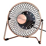 "QINUKER Desk Office Mini Portable Fan Quiet, 5"" Desktop Small Noiseless Personal Fan USB Powered ONLY (No Battery) Metal Desigh 360 Rotation 2 Speeds for Home Libary Dorm Bedroom Bronze"