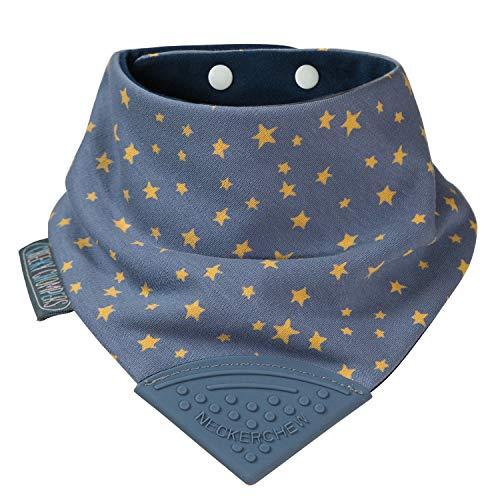 Baberos mordedores para niños y bebés – babero tipo cuello con mordedor de silicona – Diseño pañoleta multi-galardonado de Cheeky Chompers – Súper higiénico + absorbente (Midnight Star)