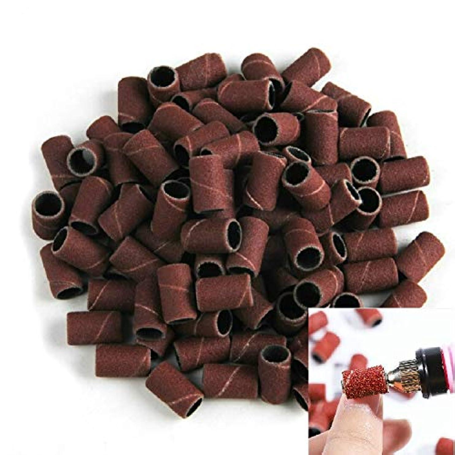 テセウスレパートリーとげのあるネイルアート用品 グレート100 PCSネイルアートの電気グラインダアクセサリーサンドペーパーリング砂布リング研削リング、サイズ:120#