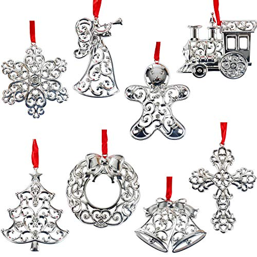 Lenox Sparkle and Scroll Christmas/Holiday Ornaments [Silver-Plated] (8-Set Sparkling Gems)