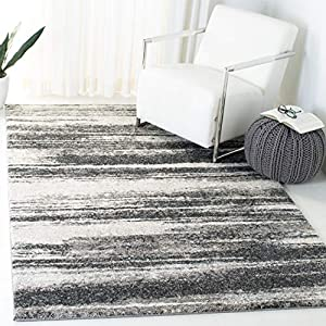 Safavieh Retro Collection RET2693 Modern Abstract Non-Shedding Stain Resistant Living Room Bedroom Area Rug, 3′ x 5′, Dark Grey / Light Grey