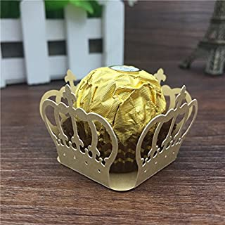 Sopeace 50pcs Crown Prince Paper Candy Bar Chocolate Packaging Bar Laser Cut Birtday Decoration Kids Party Supplies Wedding Decoration (Golden)