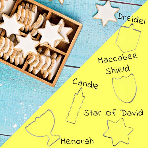 Aviv Judaica Hanukkah Cookie Cutters Set Stainless Steel Cookie Cutters - 5 Fun Cookie Molds Chanukah Shapes - Menorah - Dreidel - Candle - Maccabee Shield - Star of David