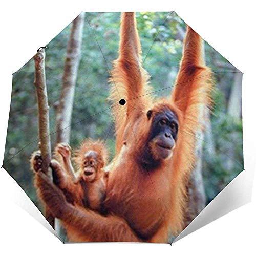 Orang-Utan und Baby winken Monkey Travel Umbrella Sonnenschirm-Lightweight Windproof Sunscreen Umbrella-Auto Öffnen und Schließen-Taste