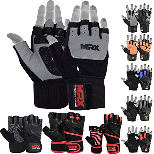 MRX Weight Lifting Gloves are Premium Quality Amara Leather with Long Wrist Straps – Gym Gloves, Workout Gloves, Exercise Gloves for Powerlifting, Fitness, Cross Training for Men & Women Gloves for Pull-Ups