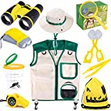 INNOCHEER Explorer Kit & Bug Catcher Kit for Kids Outdoor Exploration with Vest, Binocular, Magnifying Glass, Hand-Crank Flashlight, Whistle, Bug Collector, Bag for Boys Girls