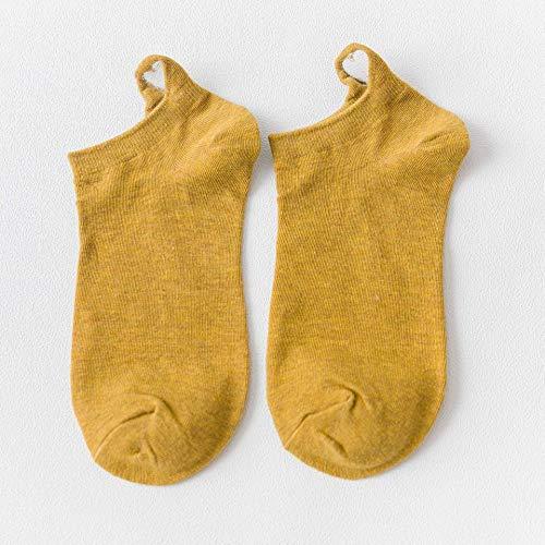 ZHANGNUO Frauensocken Frühling Und Sommer Einfarbiger Heller Mund Kurzer Baumwoll-Cartoon Bestickter Bär Unsichtbare Socken Smiley/Gelb