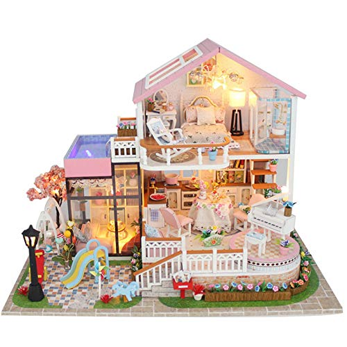 CUHAWUDBA Sü?E Villa M?Bel Puppen Haus Miniatur DIY Kit Fern Bedienung Led Lichter Holz Spielzeug Puppen Haus Weihnachts Geschenk