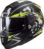 Casco moto LS2 FF397 VECTOR FT2 STENCIL BLACK H-V YELLOW, Nero/Giallo, XS