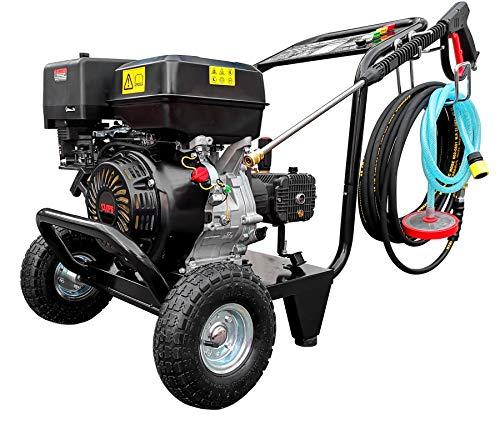 Limpiador de alta presión de gasolina con motor de gasolina de 13 CV, motor de 1 cilindro, motor de 4 tiempos, manguera de alta presión de 10 metros, con 5 boquillas intercambiables.