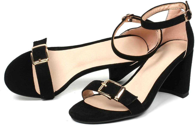 T-JULY Women Sandals Flock Square High Heel Round Toe Fashion Women shoes Platform Buckle Black Women Sandals