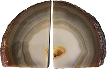AMOYSTONE Agate Bookends for Shelf Decorative Geode Book Ends for Heavy Books Crystal Bookends for Shelves Nature Brown Small