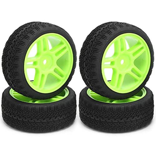WYDM Ruedas y neumáticos RC de 4 Piezas, Combinador de Ruedas Star 110 de 65 mm de diámetro Compatible con el Coche de Control Remoto en Carretera D12 1/10