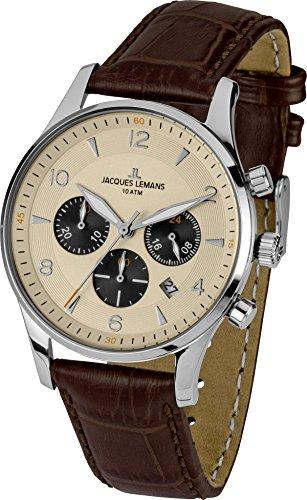 Jacques Lemans Herrenuhr Chronograph Quarz mit Lederarmband – 1-1654E