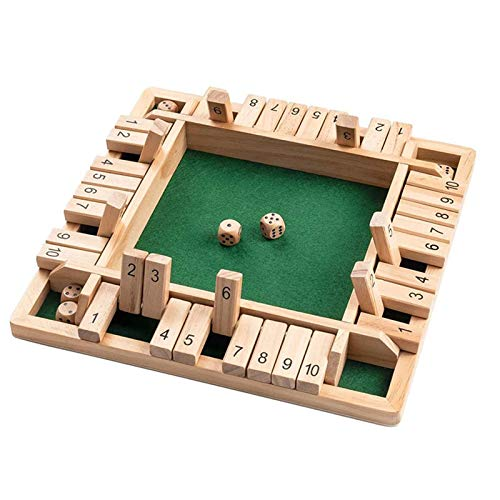 Scucs Wooden Board Game, 4-Player Shut The Box Dice Game Mathematic Traditional Pub Board Dice Game...