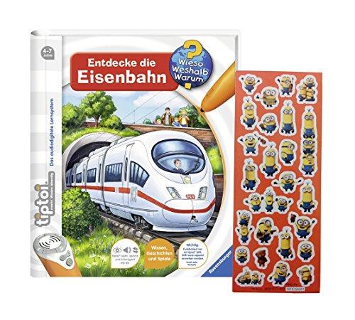 Ravensburger tiptoi  Buch Wieso? Weshalb? Warum? - Entdecke die Eisenbahn + Minions Sticker