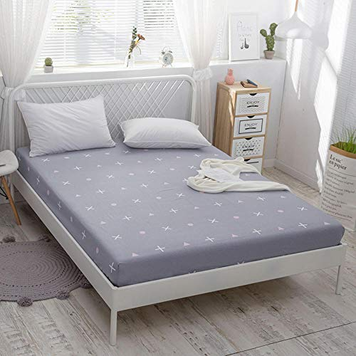 KIrSv Single Fitted Sheet,100% Cotton Plant flowers Fitted Sheet With An Elastic Band Mattress CoverBed Sheet Queen Size Bedspread-U_120x200cm+30cm
