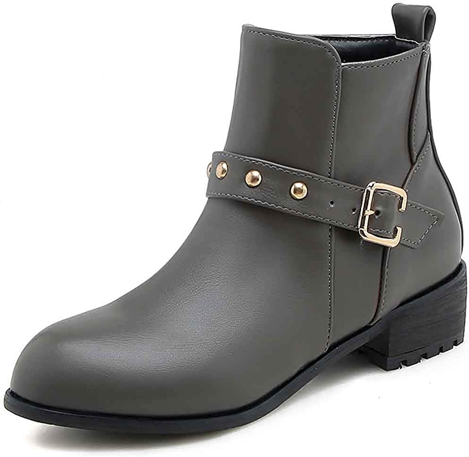 Unm Women's Studded Short Boots with Zipper - Buckle Strap Spikes Round Toe - Low Chunky Heel Ankle Booties