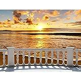 Papel tapiz fotográfico al mar terraza puesta de sol 352 x 250 cm Lana Fondo De Pantalla XXL Moderna Decoración De Pared Sala Cuarto Oficina Salón marrón naranja 9028011c