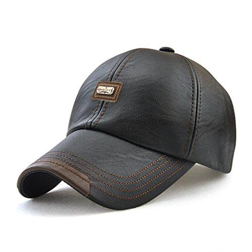 Roffatide Uomo PU Pelle Sintetica Cappellino da Baseball Polo Cappello Berretto Autunno e Inverno Nero