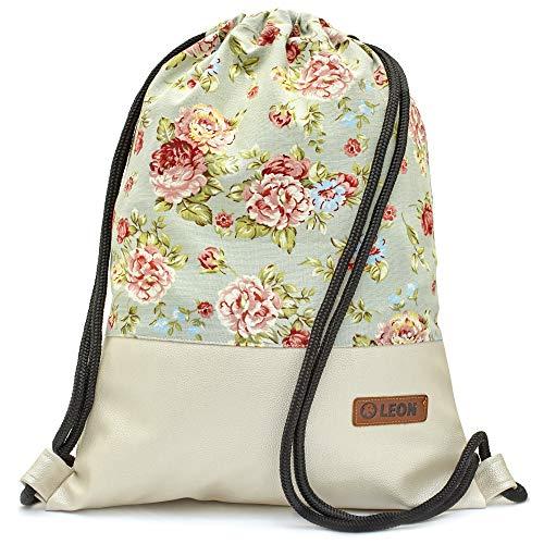 Leon By Bers Turnbeutel mit Innentaschen Rucksack Tasche Damen Herren Teenager Gym Bag Gym Sack (blaurose_PerlmuttPu)