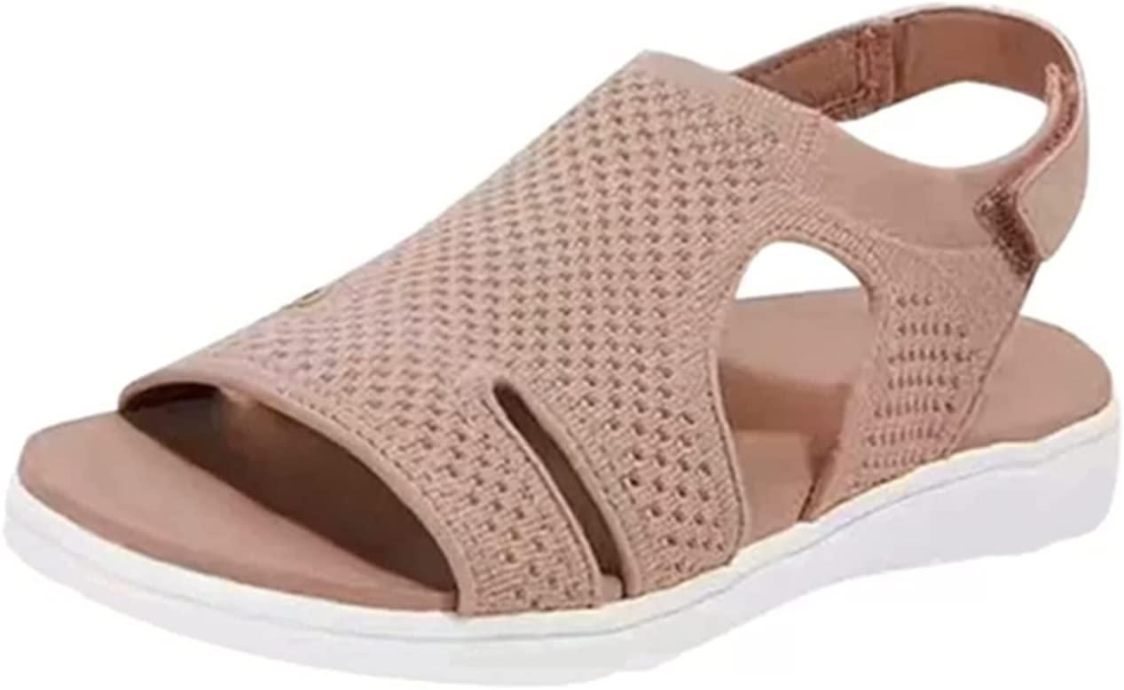 andals for Women Summer Comfortable Hiking Sandals Flat Walking Womens Sandals Sport Athletic Beach Water Sandals(Khaki,8.5)