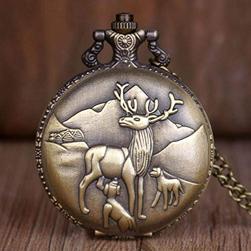 SHKUU Reloj Bolsillo Vintage Lovely Animal Pattern Reloj Bolsillo Cuarzo Collar Colgante Cadena Mujeres Hombres Cumpleaños Regalo Navidad