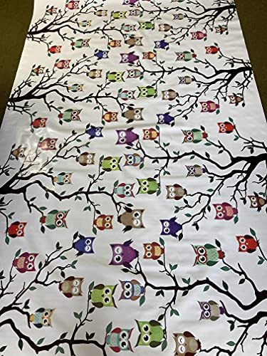 Vinyl Pvc Tablecloth 54 inch Round (137 cm) Multi colour Owls design on White Ground To fit up to a 4 Seater Size Circular table, Wipe Clean, Textile Backed Plastic Table Cloth (337)