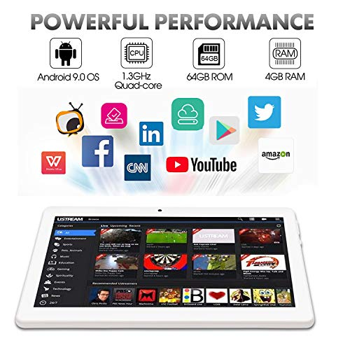 Android Tablet 10 Inch Android 8.1 OS, 3G Unlocked Tablet with Dual SIM Card Slots, FHD IPS Screen, 4GB RAM, 64GB ROM, Quad Core, 2.0 MP Front + 5.0 MP Rear Camera, Bluetooth, GPS (Silver)