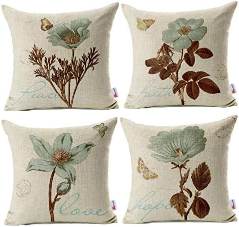 Best Monkeysell Pack of 4 Lotus Leaf Butterfly Flowers Pattern Cotton Linen Throw Pillow Case Boho Floral