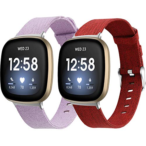 MEFEO Bands Compatible with Fitbit Versa 3 / Fitbit Sense Women Men, 2-Pack Breathable Woven Fabric Sport Straps Wristbands Replacement for Fitbit Versa 3 Smart Watch (Lavender/Red, Large)