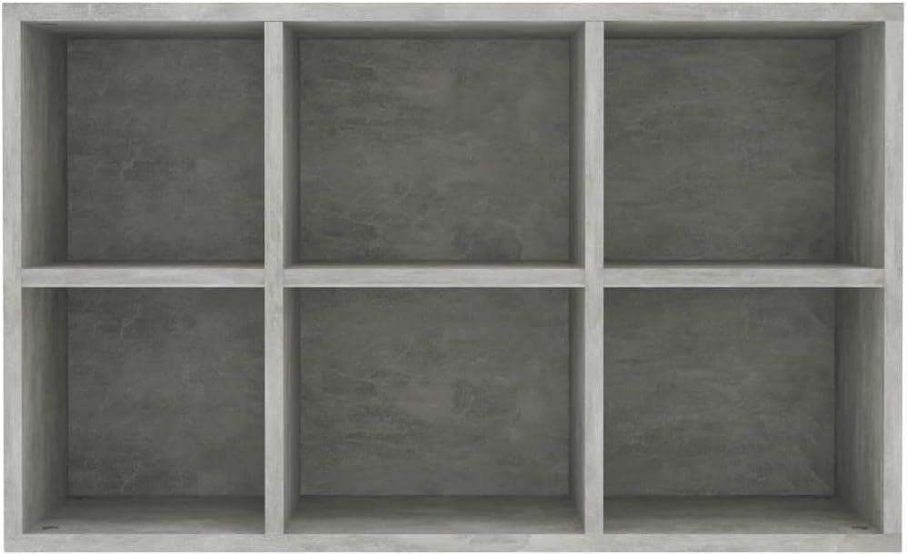 Betongrau UnfadeMemory B/ücherregal//Sideboard Schrank Spanplatte Standregal Aufbewahrungsregal Holz Aktenregal mit 6 F/ächern 50x25x80 cm
