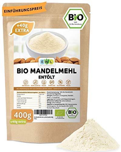 Bio Mandelmehl entölt 400g + 40g extra XL Bio-Pack│ Lower Carb Almound Flour organic │Entöltes Mandelmehl Nachhaltige geprüfte Bio Qualität│Hergestellt in Deutschland