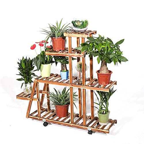 MASTER TRADE Solid Wood 5 Tiers Flowers Rack Plant Stand Shelves Bonsai Display Shelf with Wheels for Indoor Outdoor Yard Garden Patio Balcony (8 pots Stand)