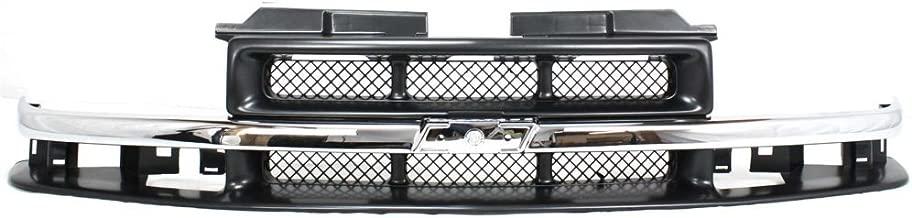Grille for Chevrolet Blazer 98-05/S10 Pickup 98-04 Mesh Insert Painted-Gray W/Chrome Center Bar