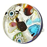 GlassOfVenice - Anillo de Cristal de Murano con reflexiones venecianas, Redondo con Banda Ajustable