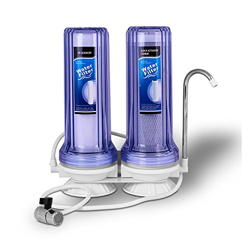 Ronaqua 2 Stages Countertop Drinking Water Filtration System Removes Chlorine, Polypropylene Sediment Filter, Block Activated Carbon Filter, Transparent Housings, and Meets NSF Standards & Regulations