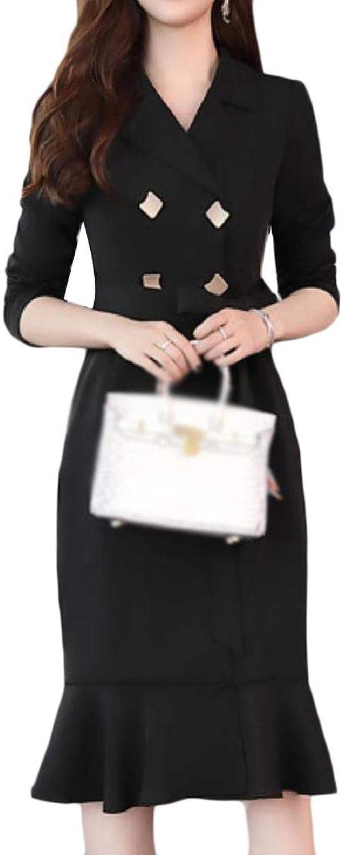 Winme Women Skinny Midi Dress Notch Collar Double Button Trench Overcoat